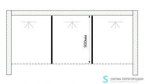Душевые Перегородки 16мм из сэндвич-панель – 3 кабины